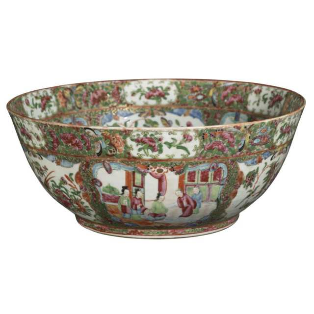 Large Export Canton Rose Punch Bowl, Late 19th Century