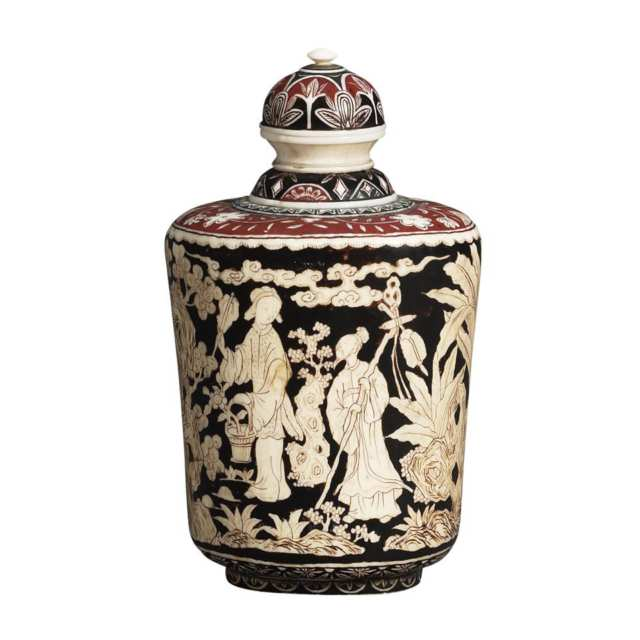 Rare Ivory and Lacquer Snuff Bottle, Qianlong Mark, 18th/19th Century