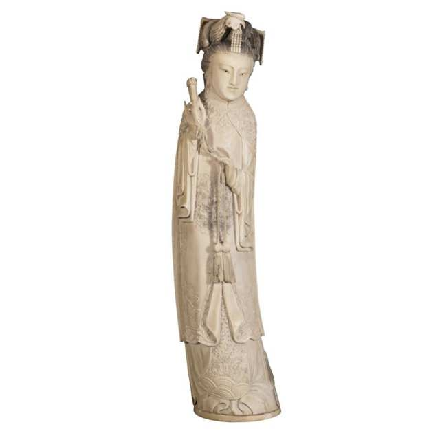 Large Ivory Figure of a Manchu Maiden