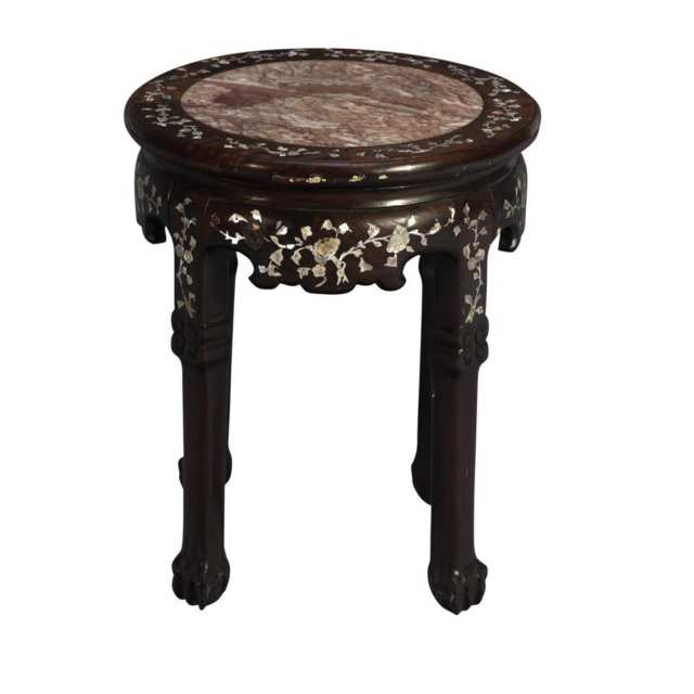Huali and Mother-of-Pearl Inlay Stool, 19th Century