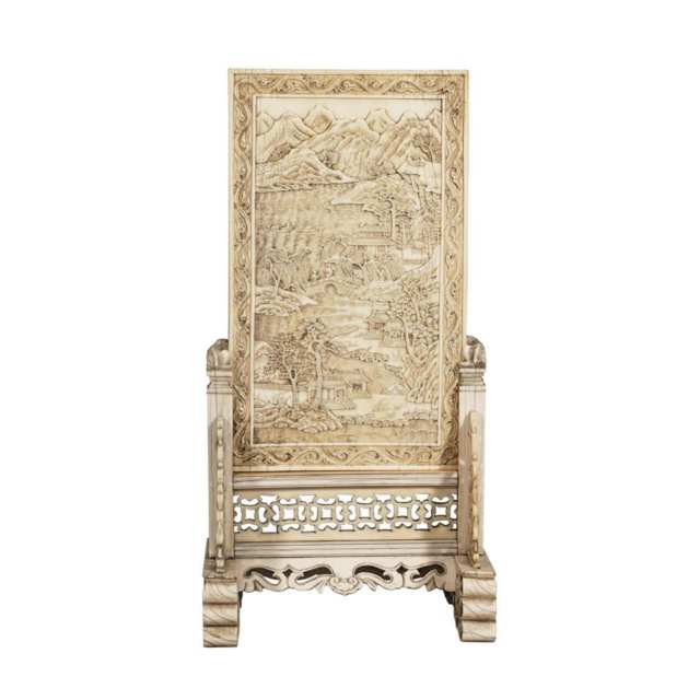 Rare Ivory Carved Panel and Stand, 18th/19th Century
