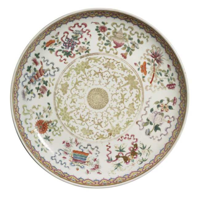 Large Famille Rose 'Buddhist' Plate, Guangxu Mark and Period (1875-1908)