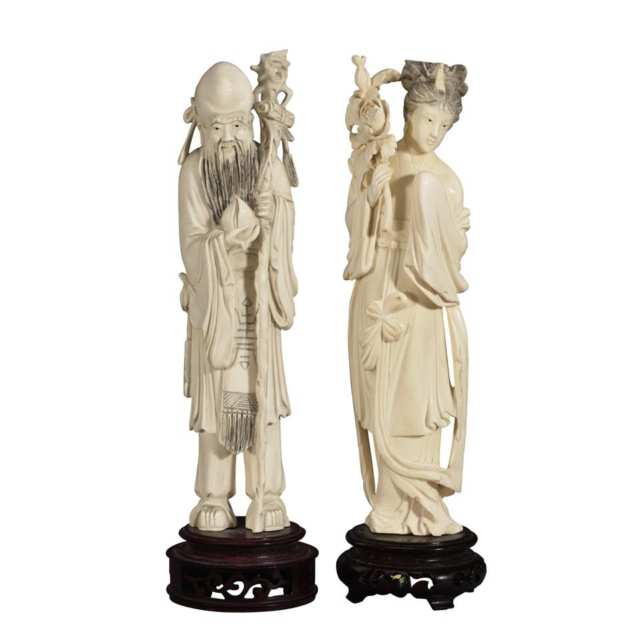 Two Ivory Carved Figures