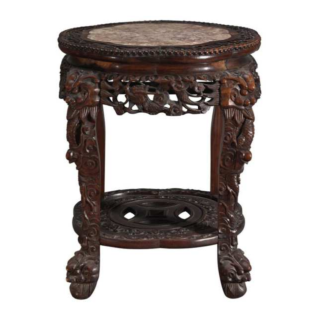 Export Hardwood and Marble Inlay Stool, 19th Century