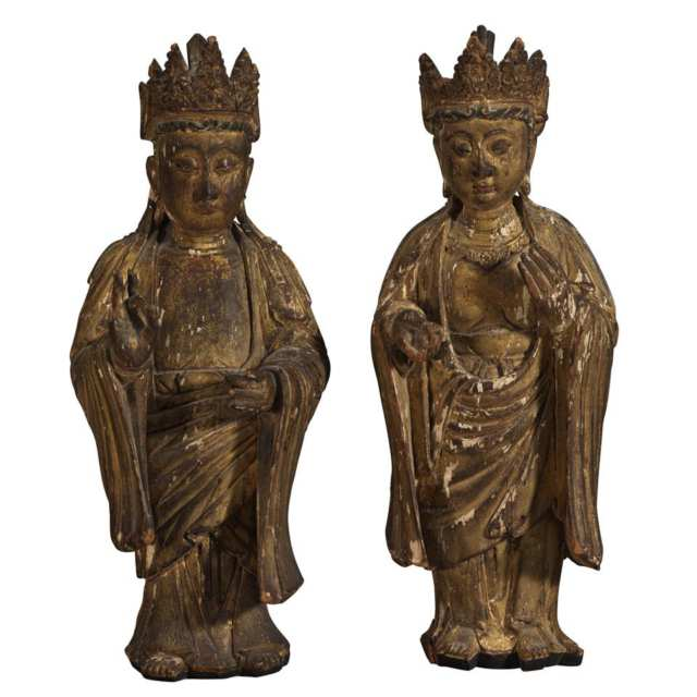 Pair of Gilt Wood Carved Buddhas, China, Ming Dynasty