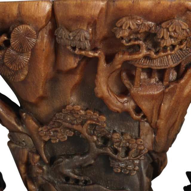 Rare Rhinoceros Horn Carved Cup, 18th Century