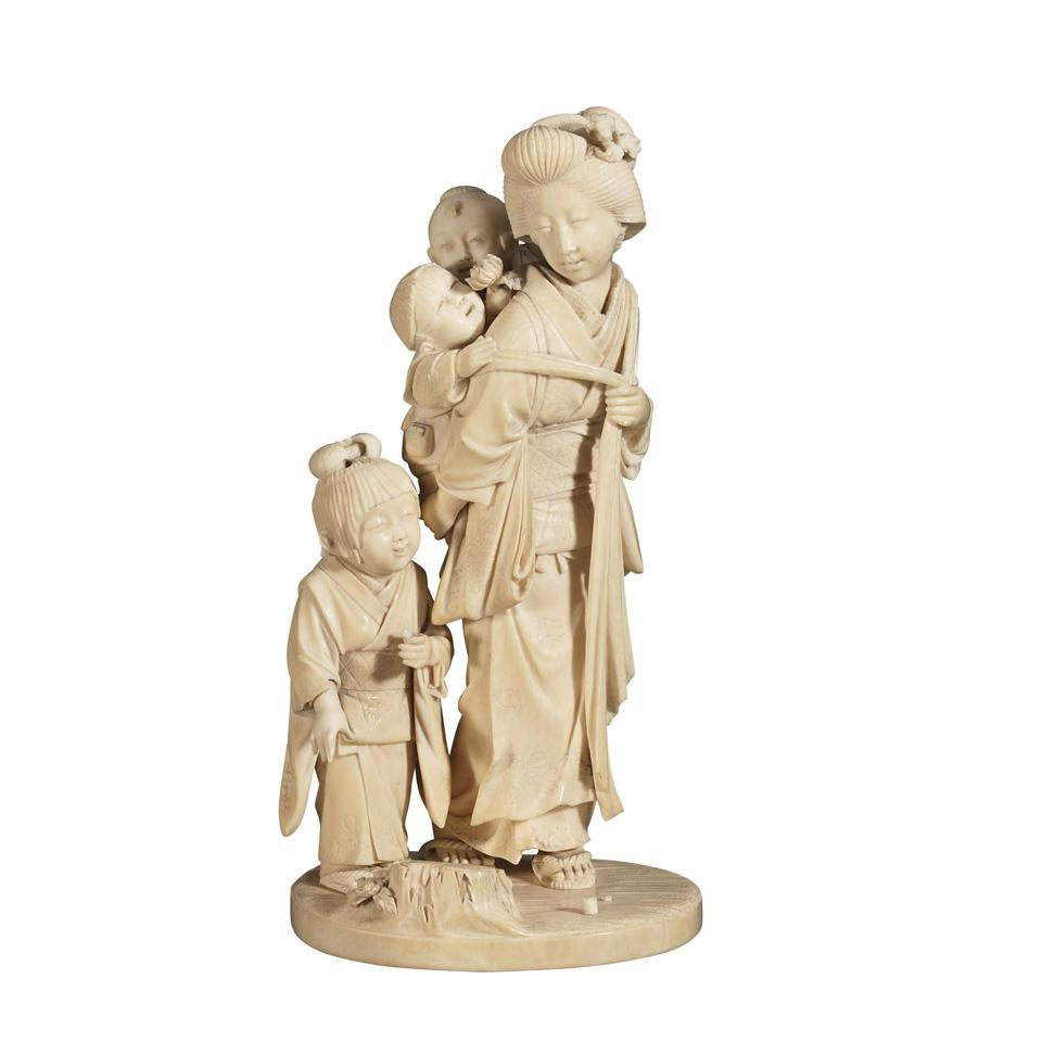 Tokyo School Ivory Okimono of a Mother and Children, Signed Tokai, 19th century