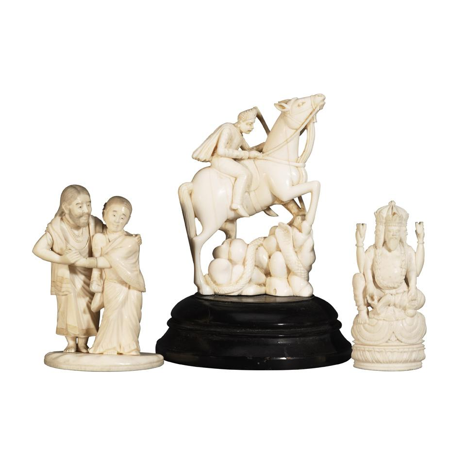 Three Ivory Carvings, South Asia, circa 1900