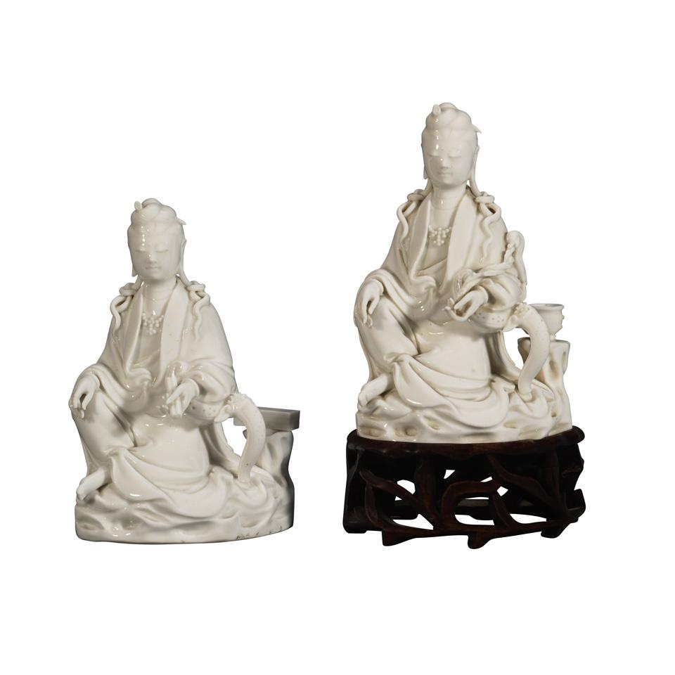Pair of Blanc-de-Chine Seated Guanyin, 19th Century