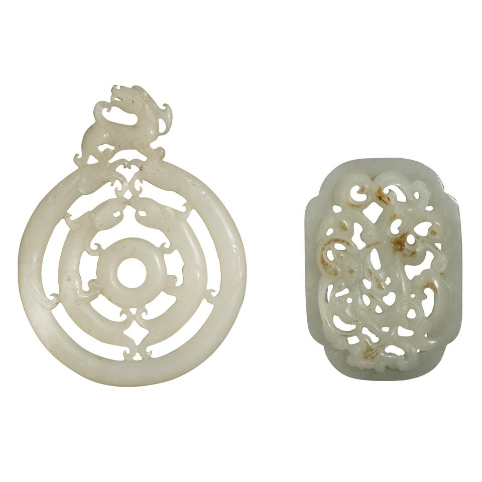 Two Pale Celadon Jade Pendants