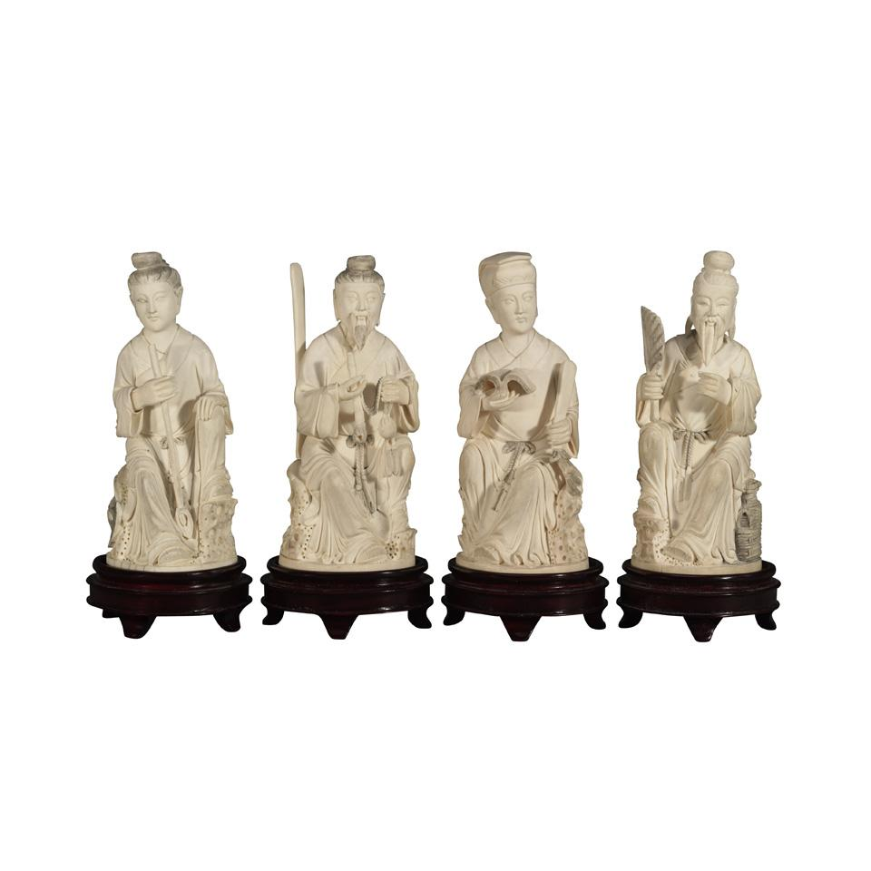 Group of Four Ivory Carved Daoist Immortals