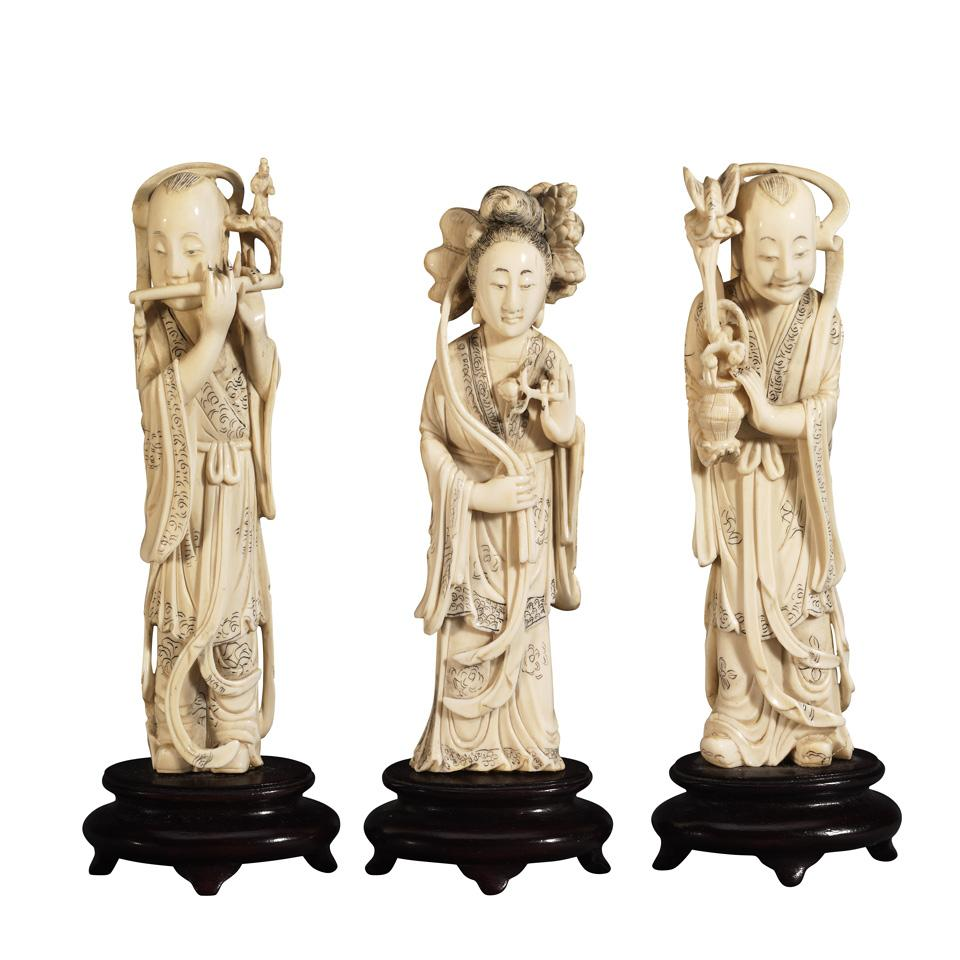 Three Ivory Carved Immortals, Late Qing Dynasty