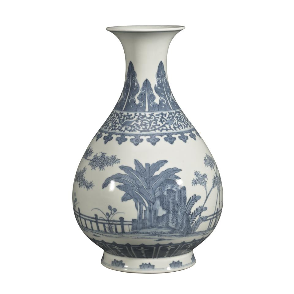 Blue and White Ming-Style Pear-Shaped Vase