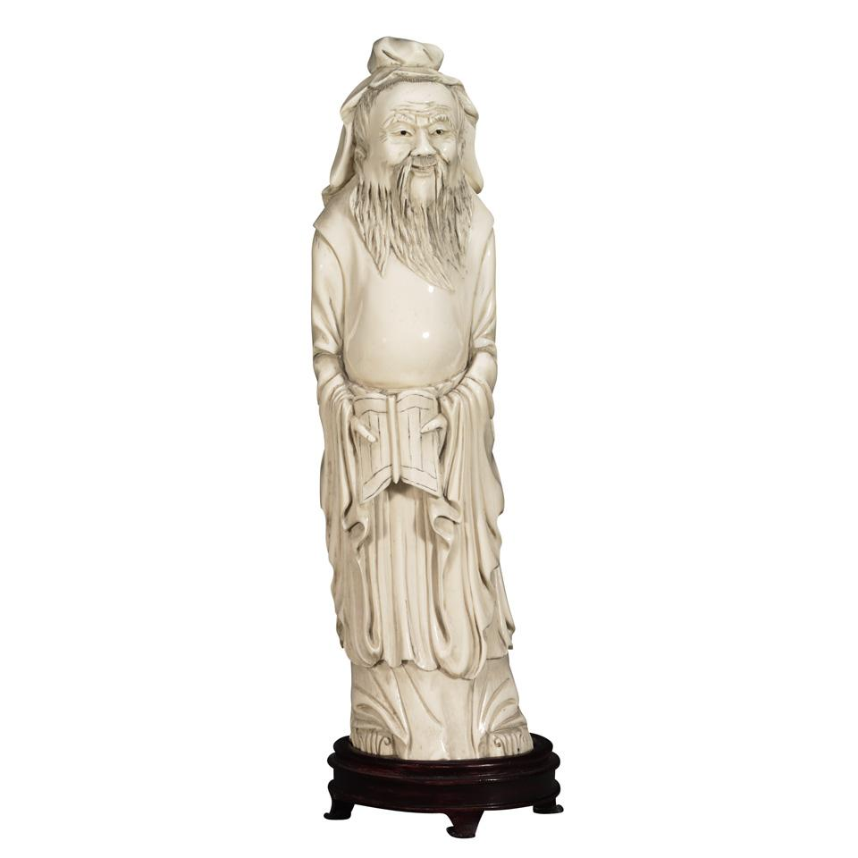 Ivory Carved Figure of a Scholar