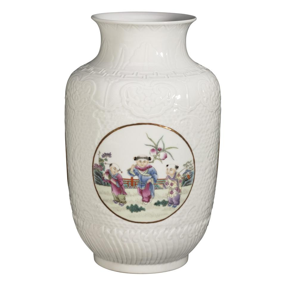 Famille Rose Moulded 'Boys' Lantern Vase, Hongxian Mark, Republican Period