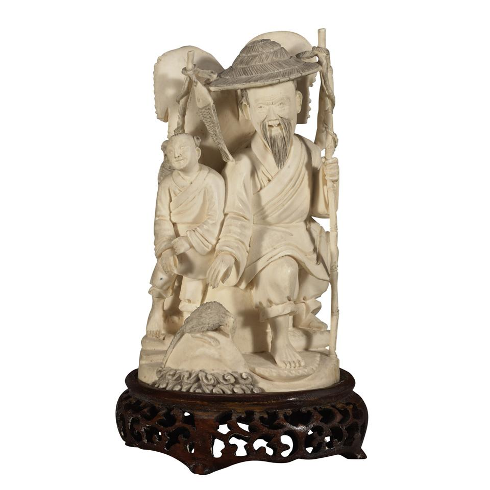 Ivory Carved Fisherman and Attendant