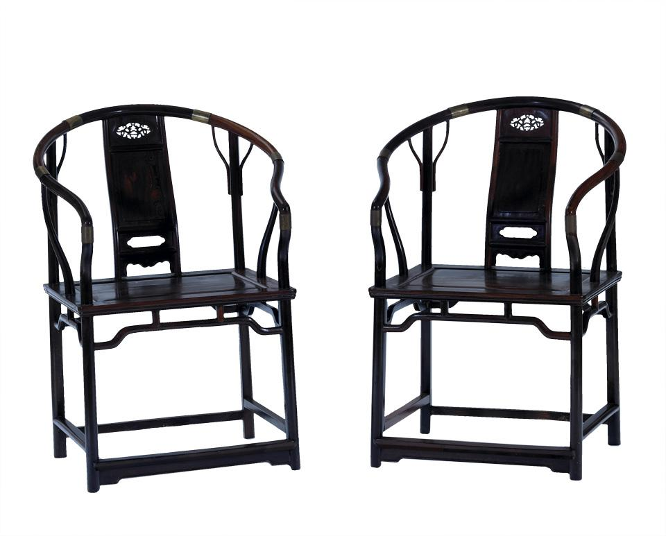 Pair of Jichimu Horseshoe Back Chairs, Guanmaoyi