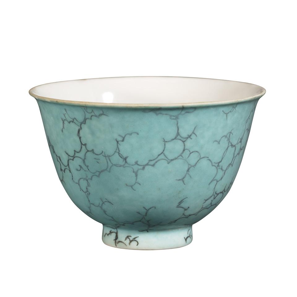 Turquoise Ground Wine Cup, 18th Century