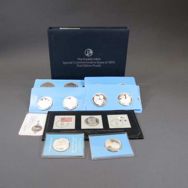 81 Various Franklin Mint Sterling Silver Commemorative Medallions