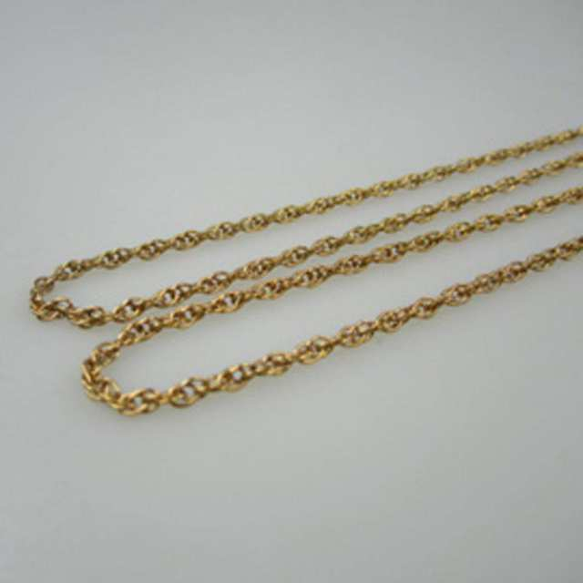 2 x 10k Yellow Gold Rope Chains
