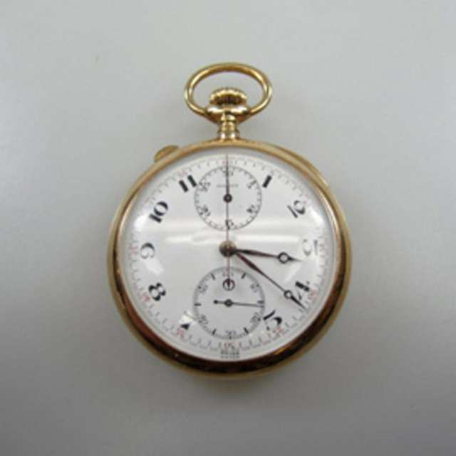 Agassiz Openface Stemwind Split-Second Chronograph Pocket Watch