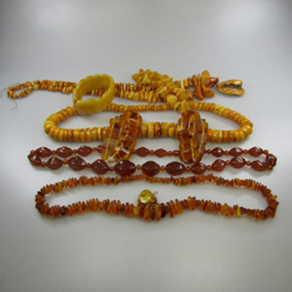 Large Quantity Of Amber Jewellery, Etc