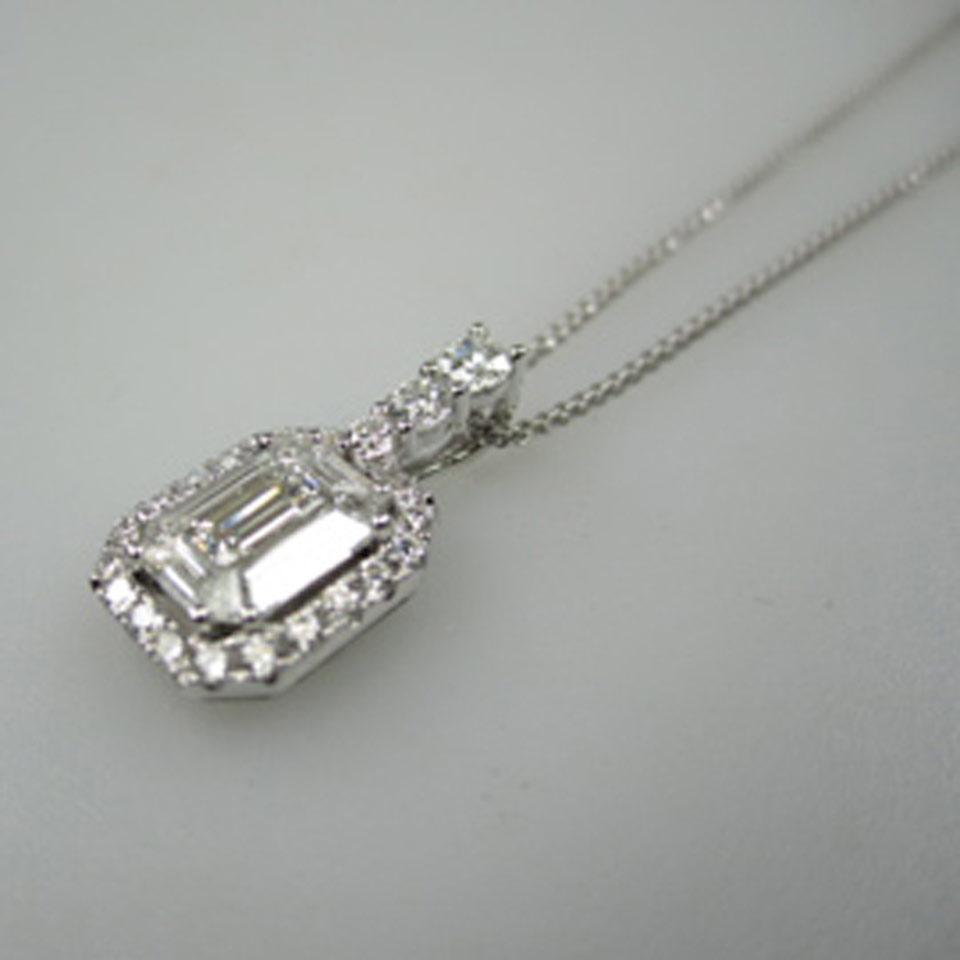 18k White Gold Pendant And Chain