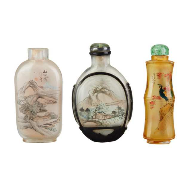 Three Interior Painted Glass Snuff Bottles, Early 20th Century