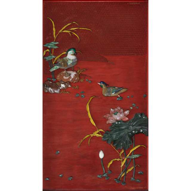Pair of Cinnabar Lacquer Panels with Hardstone Birds