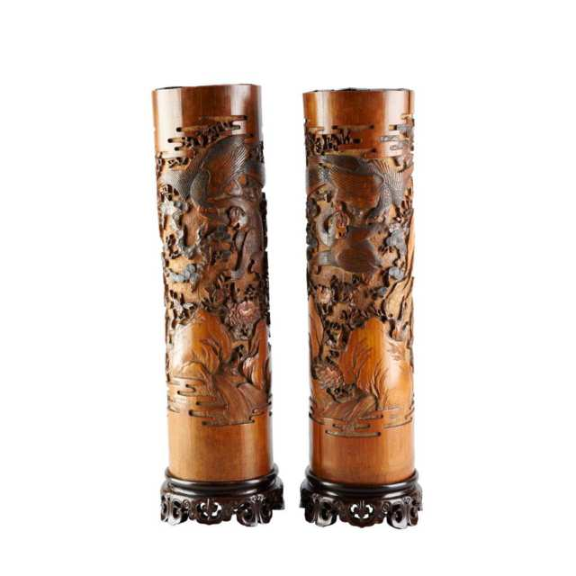 Pair of Bamboo Carvings, Circa 1880