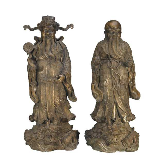 Two Cast Bronze Star God Figures