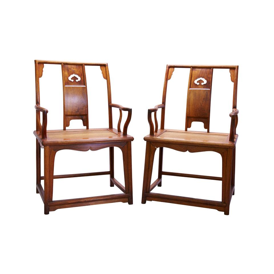 Pair of Huali Arm Chairs, Republican Period