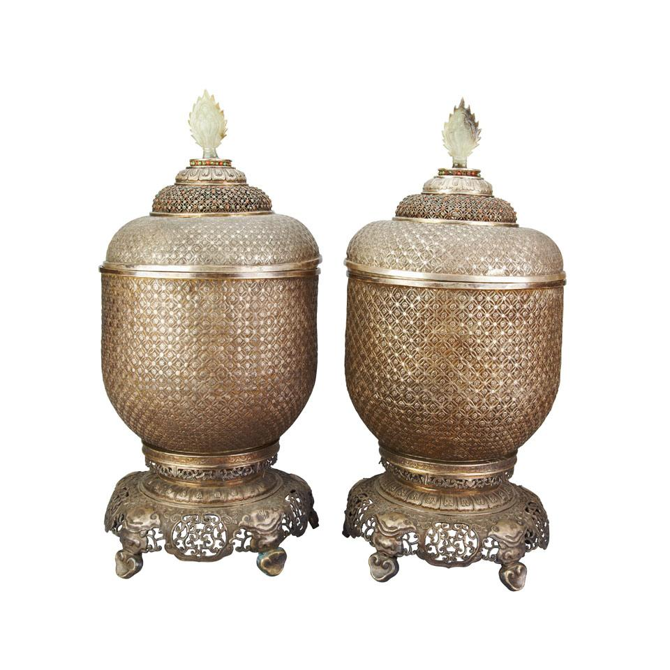 Pair of Silver Containers and Covers, Tibet or Mongolia