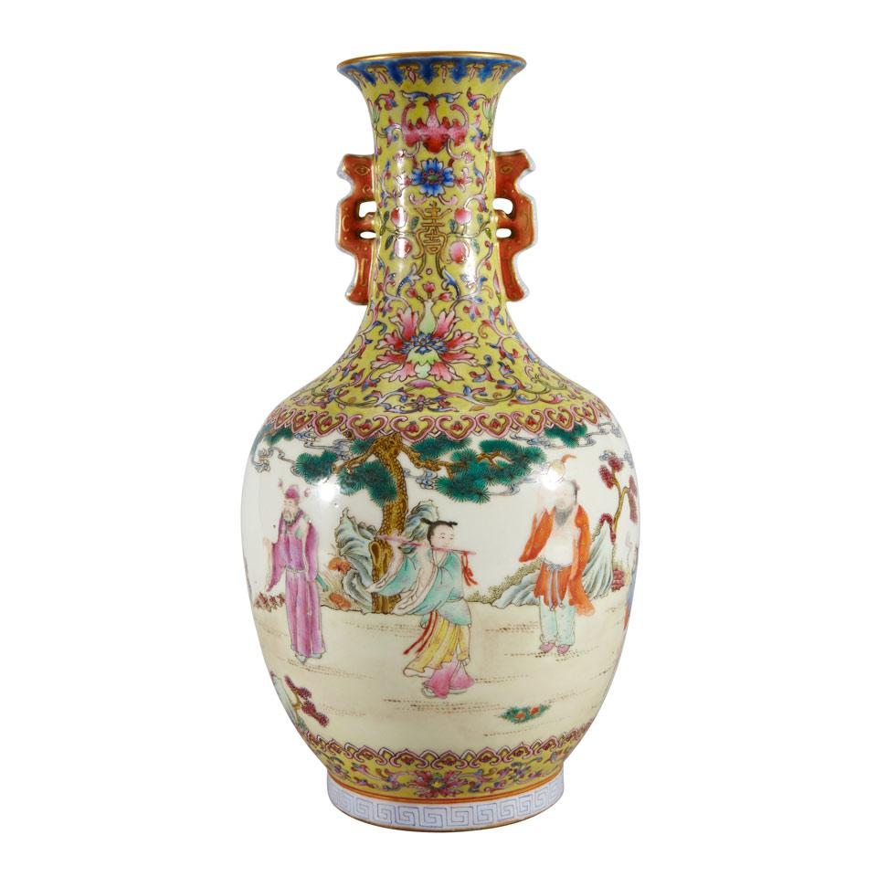 Famille Rose Immortals Vase, Qianlong Mark