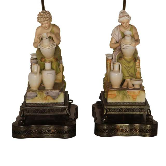 "Pair of Royal Dux "" Potters "" figural table lamps"