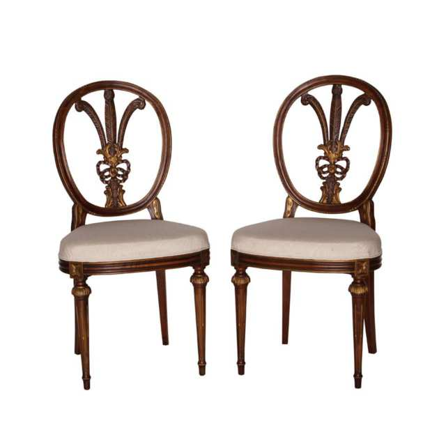Pair of Italian Mahogany Parcel Gilt Side Chairs