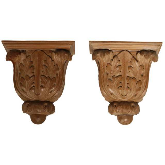 Pair of Carved Pine Acanthus Leaf Wall Brackets, 19th century
