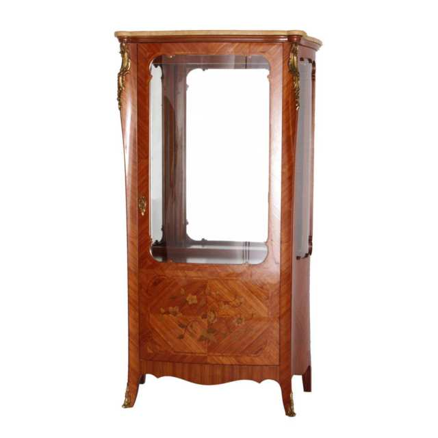 Transitional Style Marquetry Vitrine Cabinet