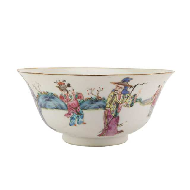 Famille Rose Figural Bowl, Tongzhi Mark and Period (1862-1874)