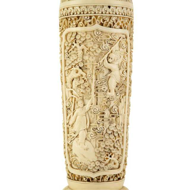 Rare and Large 'Journey to the West' Ivory Vase