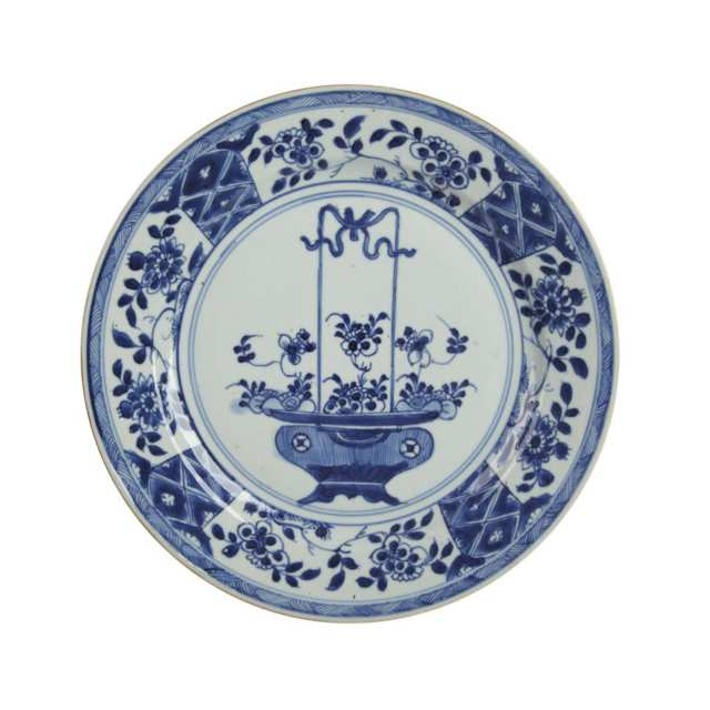 Four Export Blue and White 'Floral Bouquet' Plates, Kangxi Period (1662-1722)