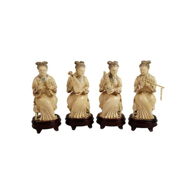 Group of Four Ivory Carved Musicians