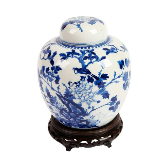 Blue and White Ginger Jar and Cover, 19th Century