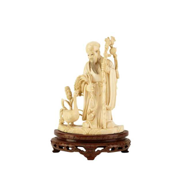 Ivory Carved Scholar and Goose