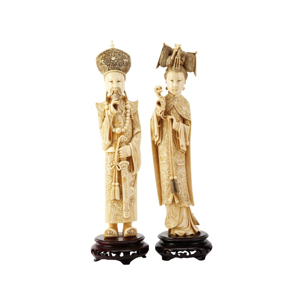 Ivory Carved King and Queen