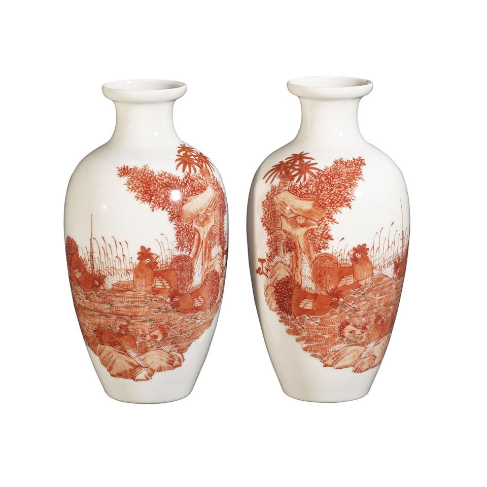 Pair of Iron Red Chicken Vases, Qianlong Mark, Republican Period