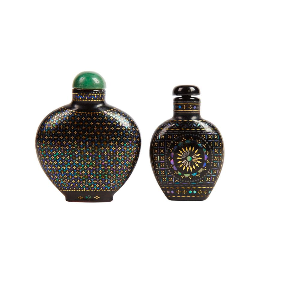 Black Lacquer Inlay Snuff Bottle, Marked Qianli, 18th/19th Century