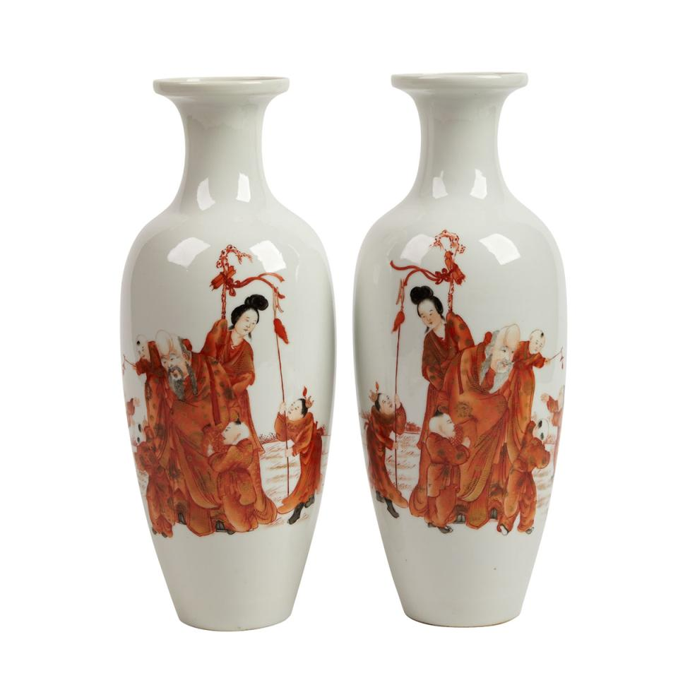 Pair of Copper Red 'Immortals' Vases, Early 20th Century