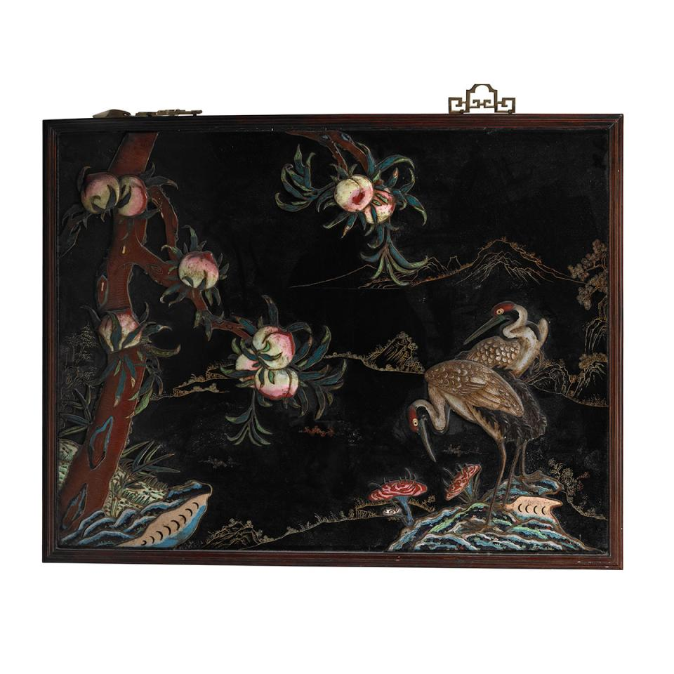 Cloisonné Enamel Nine Peaches and Crane Panel, Late Qing Dynasty