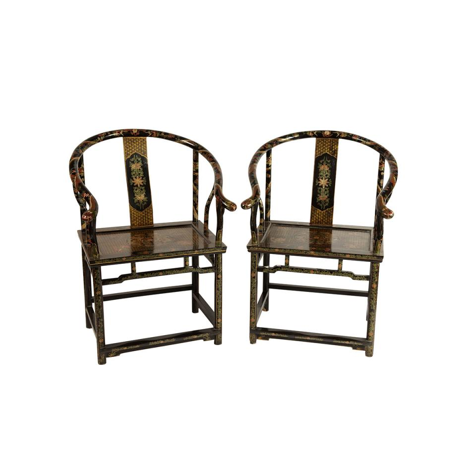 Pair of Black Lacquer Horseshoe Back Arm Chairs
